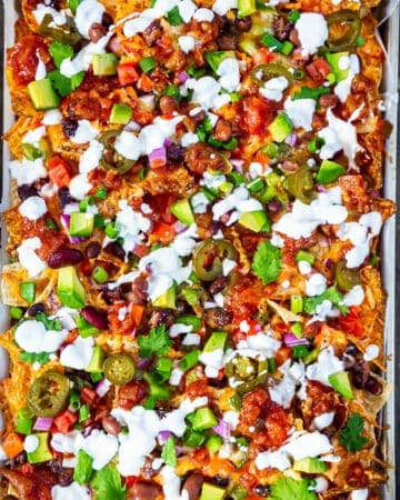 Vegetarian Nachos on a baking tray