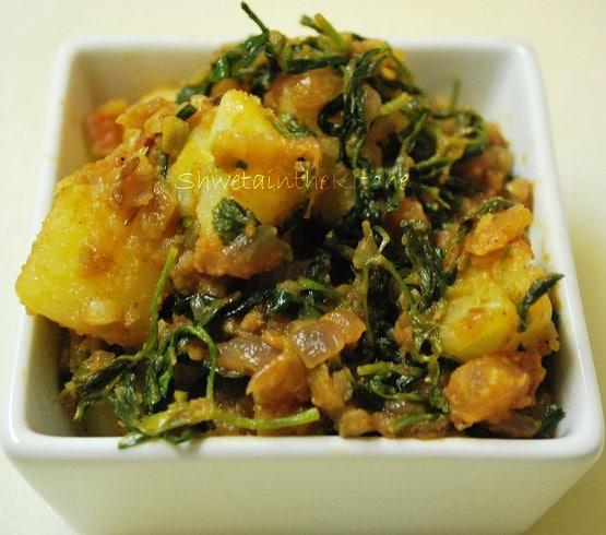 Aloo Methi - Potato with Fenugreek Leaves - Shweta in the ...