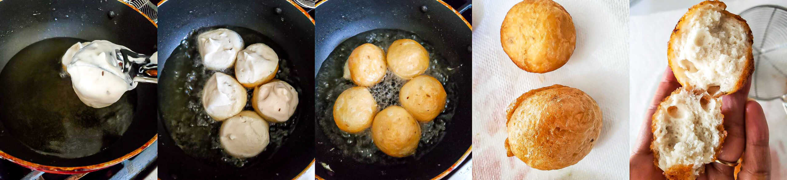 Steps for frying the dahi vada