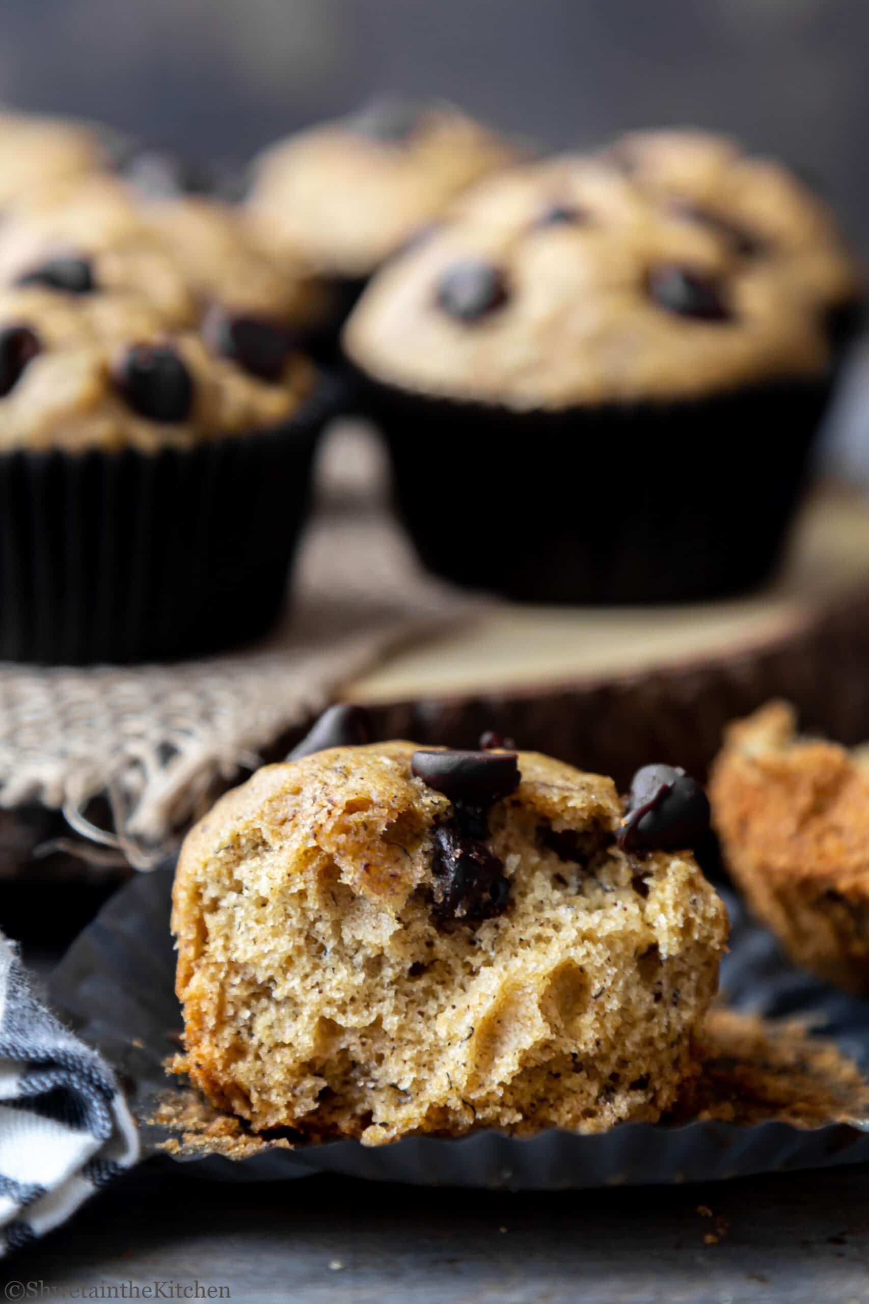 Eggless Banana Chocolate Chip Muffins