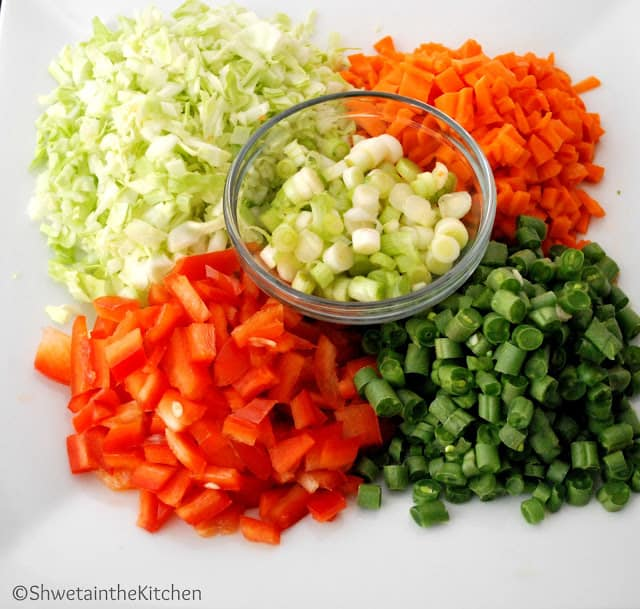 Ingredients for Vegetable Fried Rice