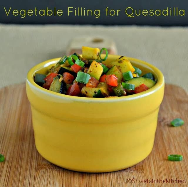 The vegetable filling in a yellow bowl