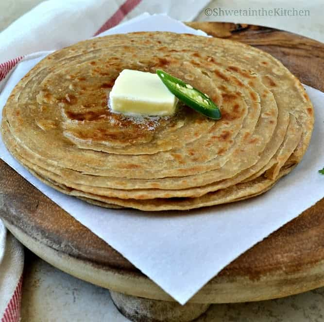 Lachha Paratha - Whole Wheat Lachha Paratha - Flaky ...