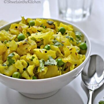 CABBAGE POTATO AND GREEN PEAS STIR FRY – KOBICHI BHAJI