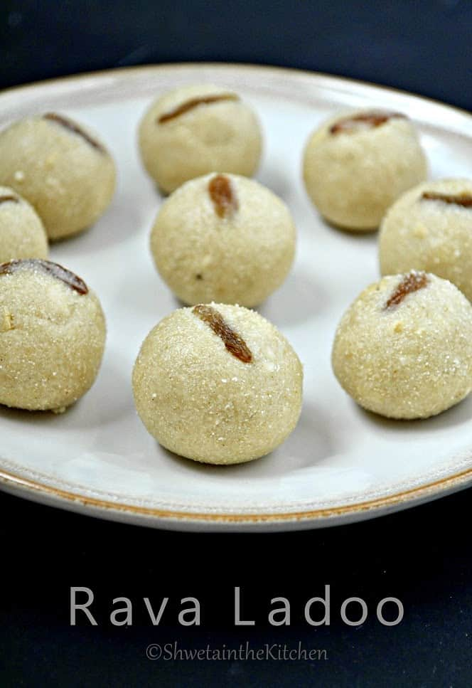rava ladoo served on a white plate with text overlay