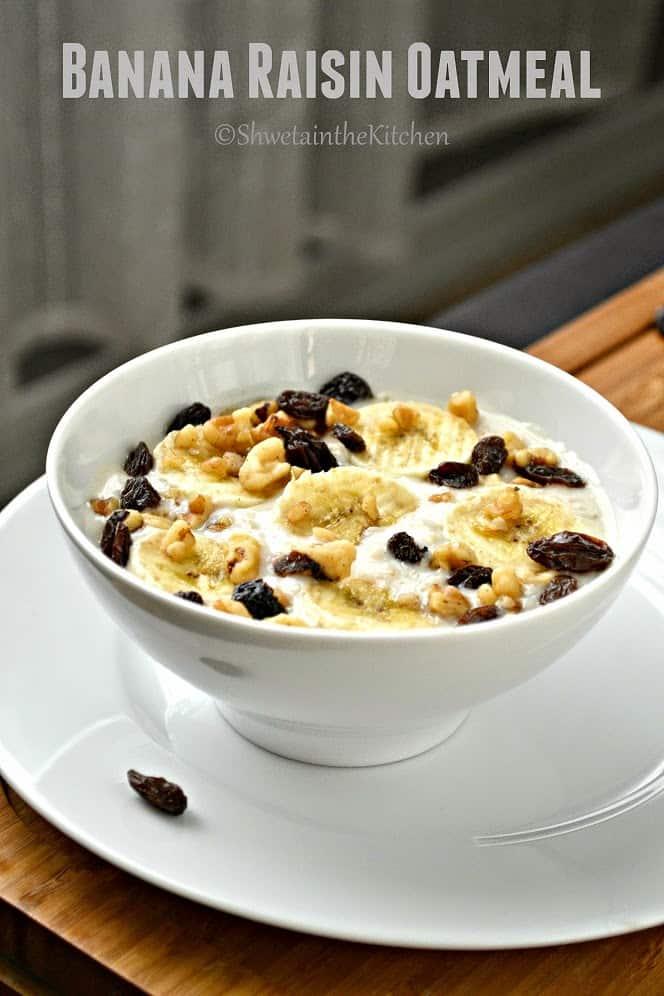 banana raisin oatmeal served in a white bowl