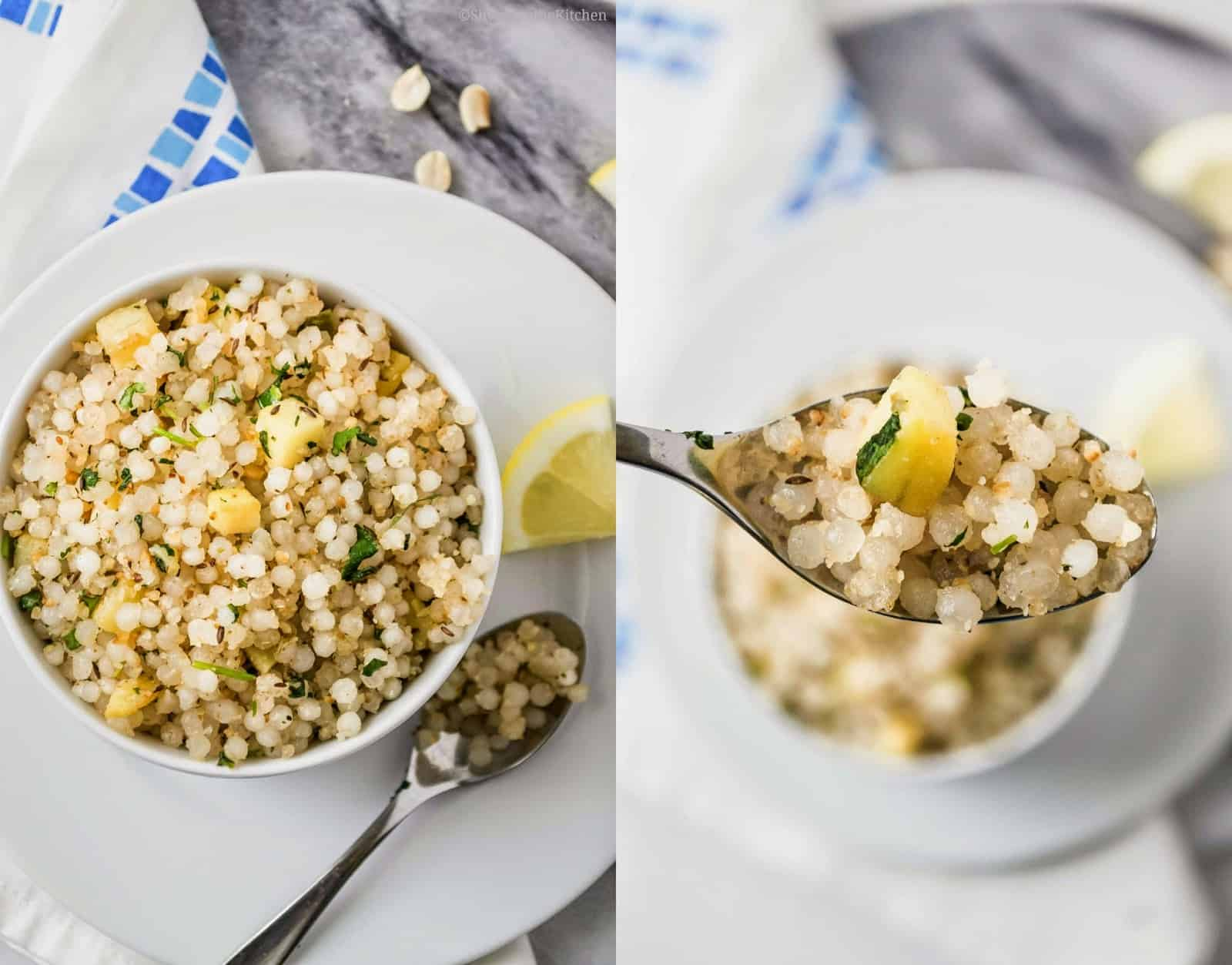 Sabudana Khichdi served in a white bowl and a close up of it on a spoon