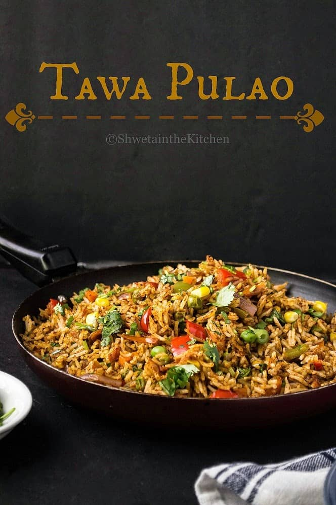 Tawa pulao in a pan with text overlay