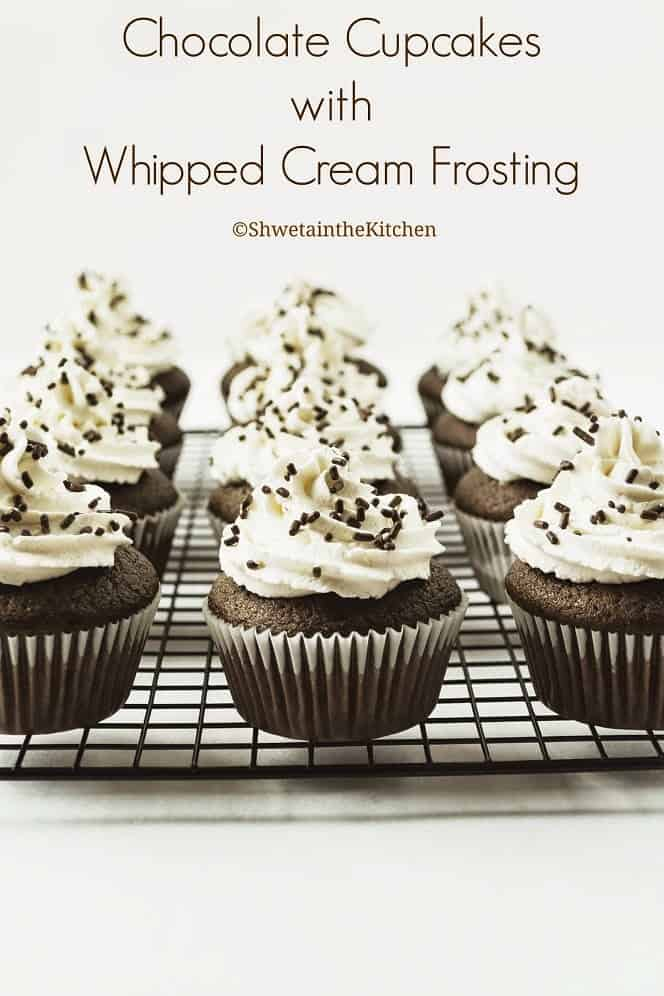 Nine frosted chocolate cupcakes on a cooling rack with text overlay