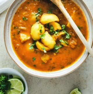 Tinda curry in a large white bowl with a wooden spoon resting on top