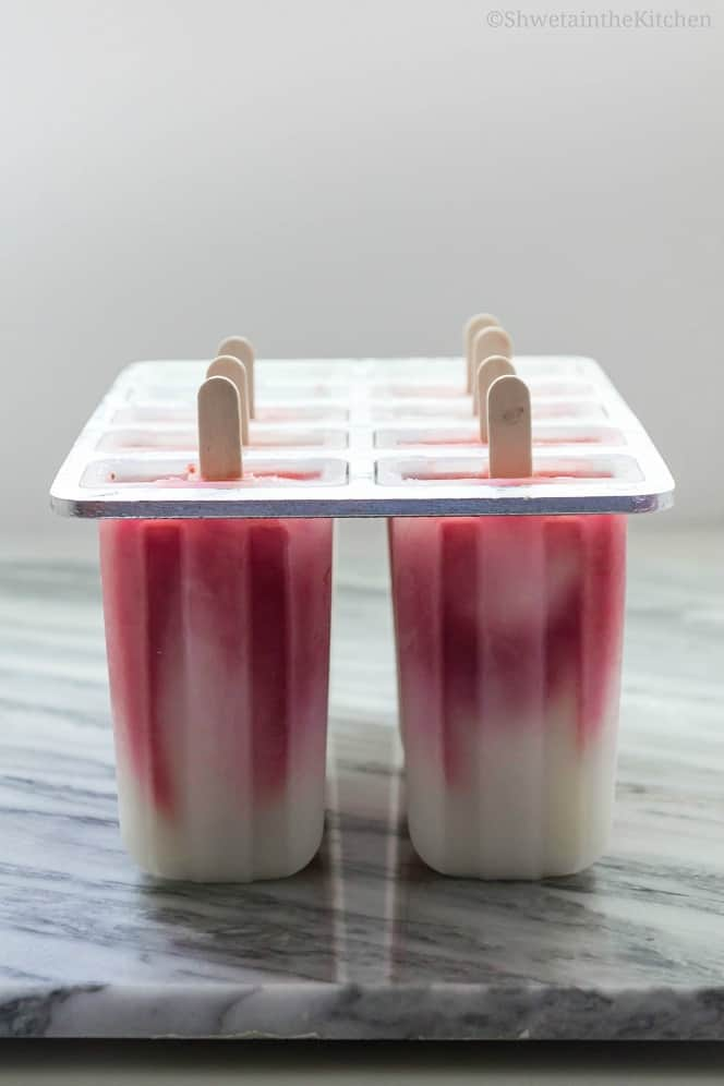 Frozen popsicles in a mold