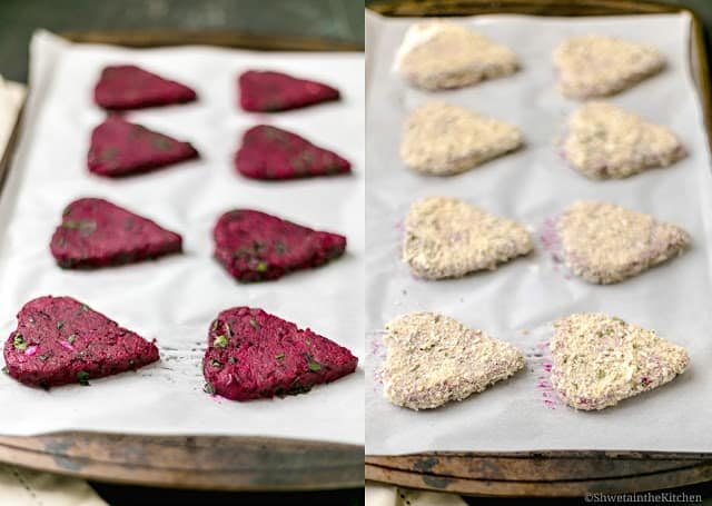 Before and after breading shot of beetroot cutlets