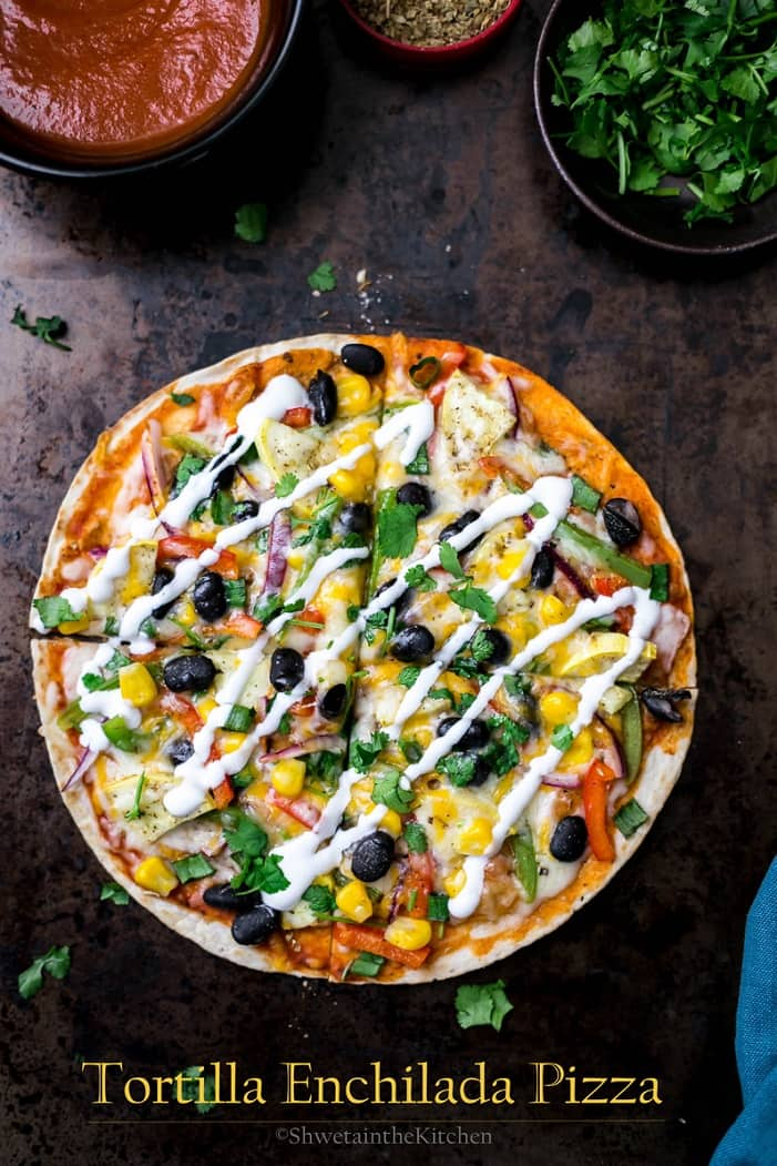 A Mexican tortilla pizza drizzled with sour cream
