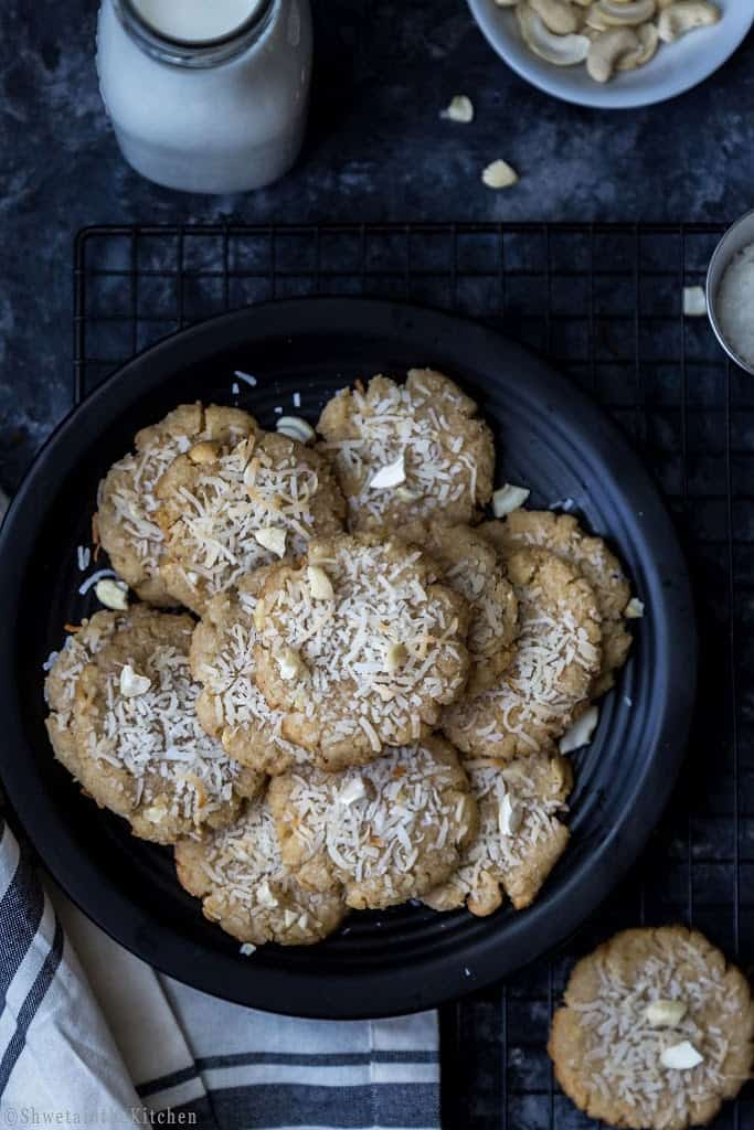 Eggless Coconut Cashew Cookies