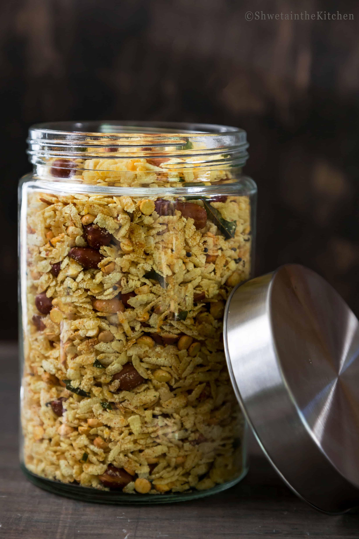glass jar full of Poha Chivda
