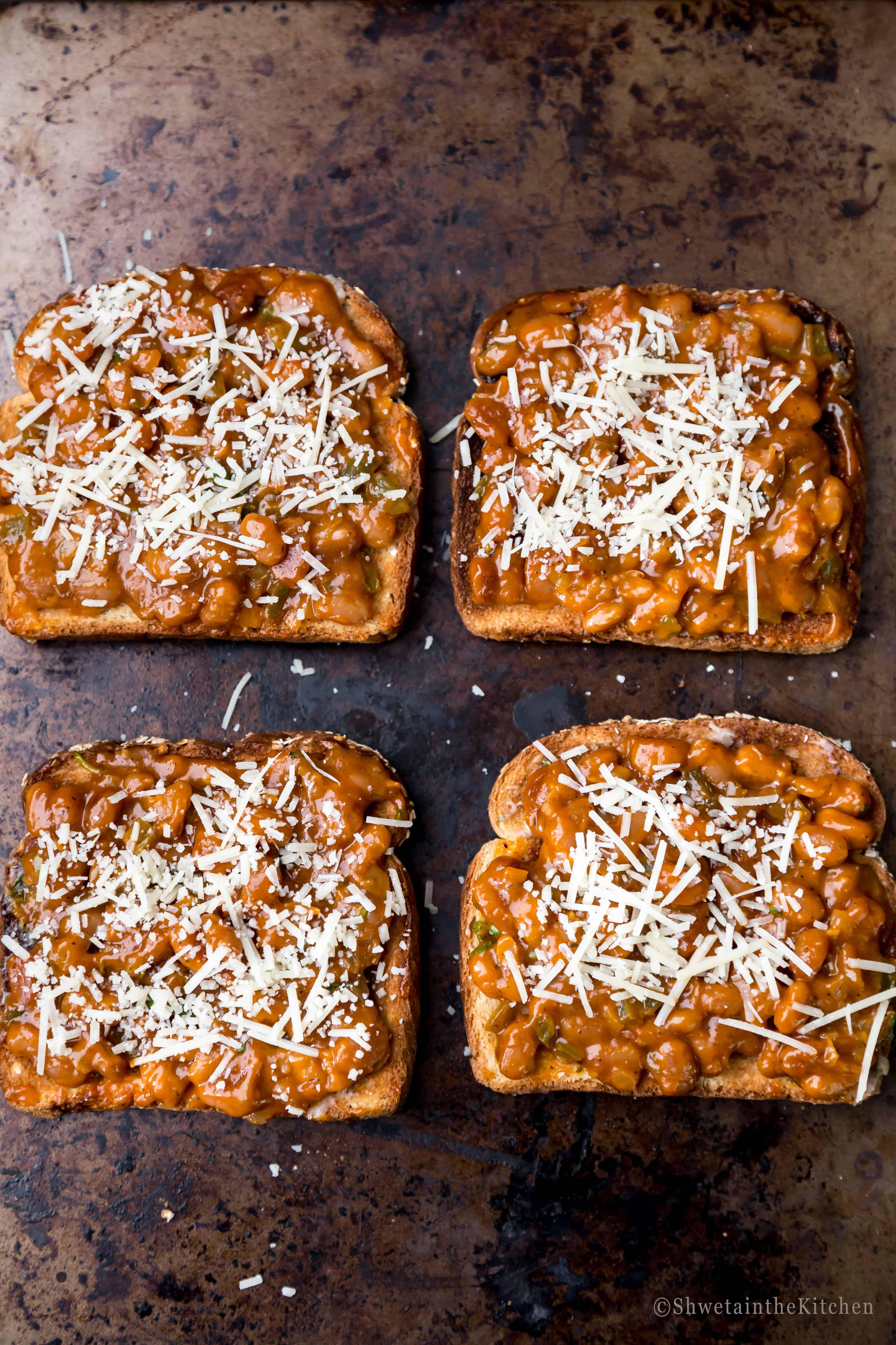Baked Beans on Garlic Toast