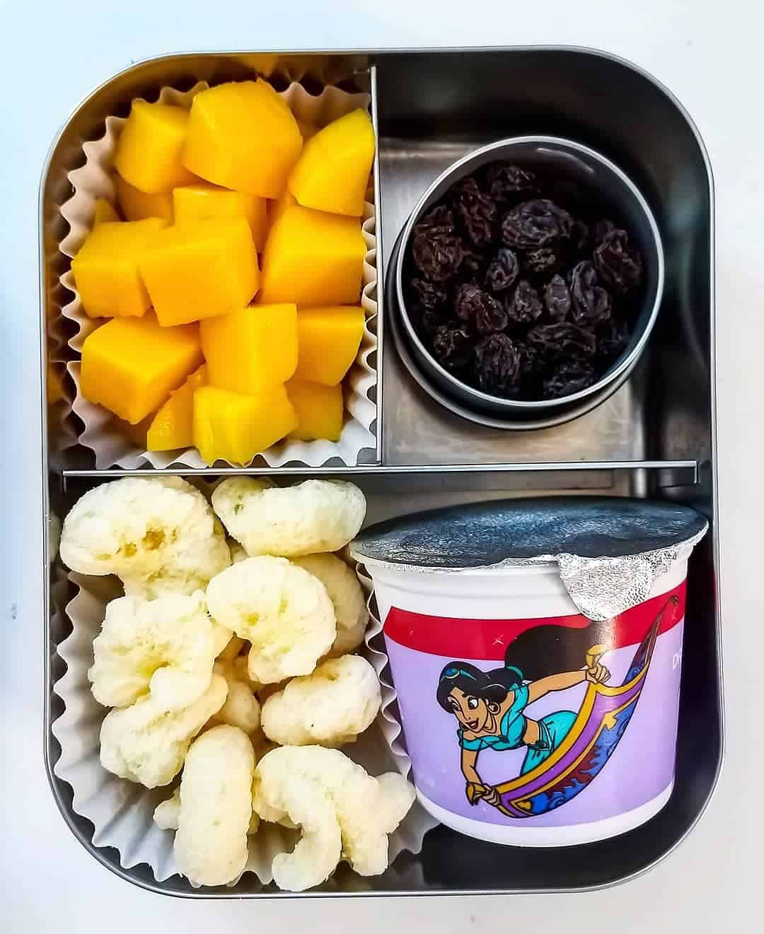 Yogurt, mango, cheese puffs