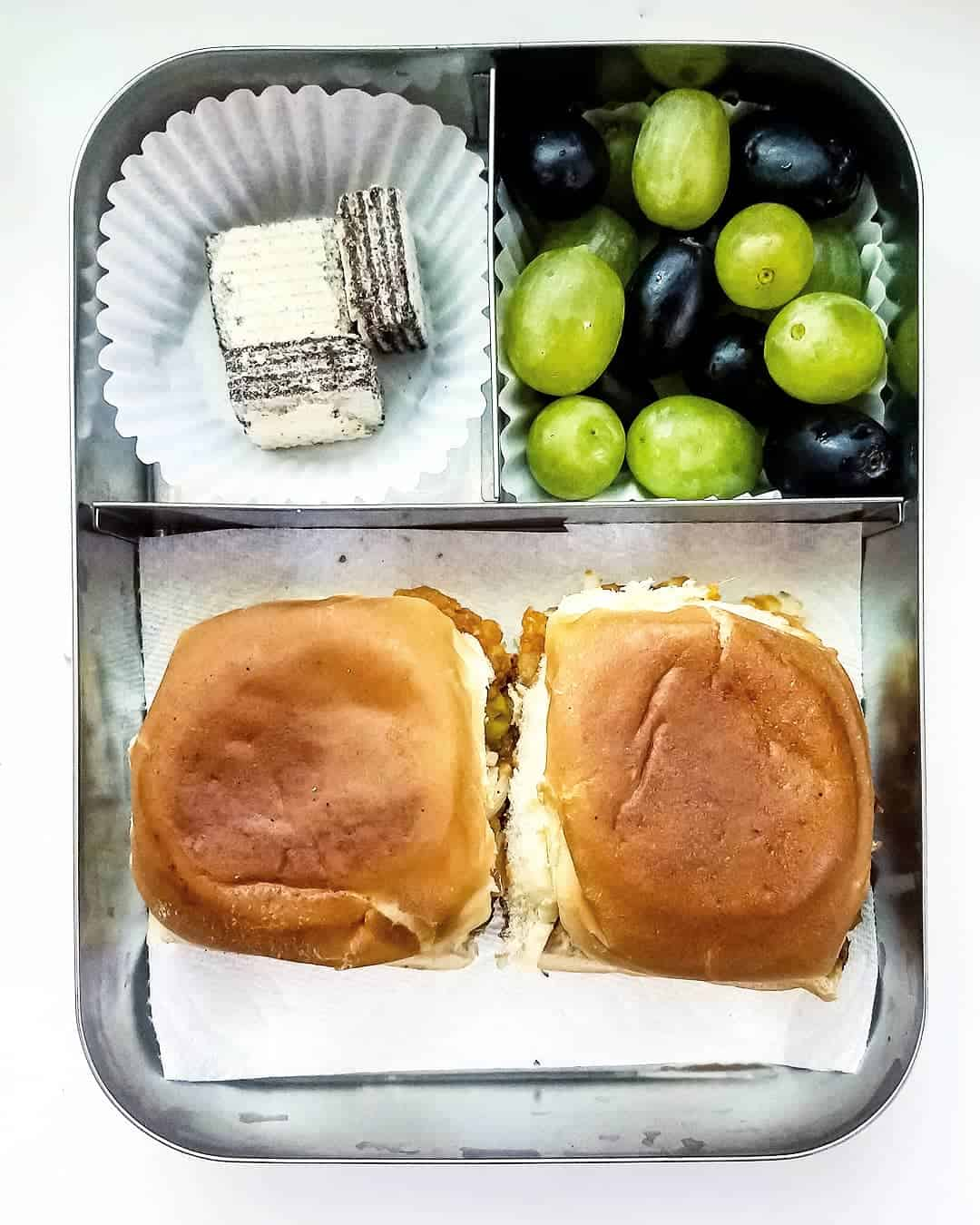 Pav bhaji, Black and green Grapes and chocolate filled vanilla wafers as sweet treat