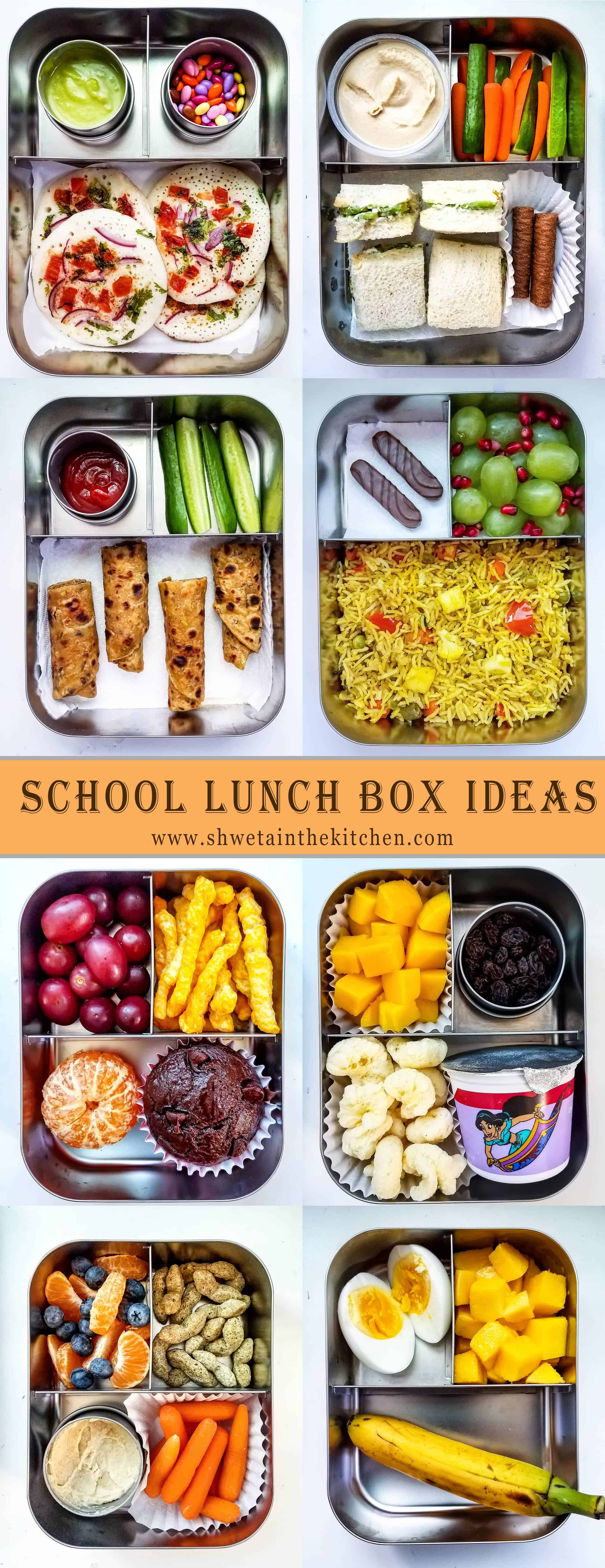 Collage of School Lunch ideas for kids