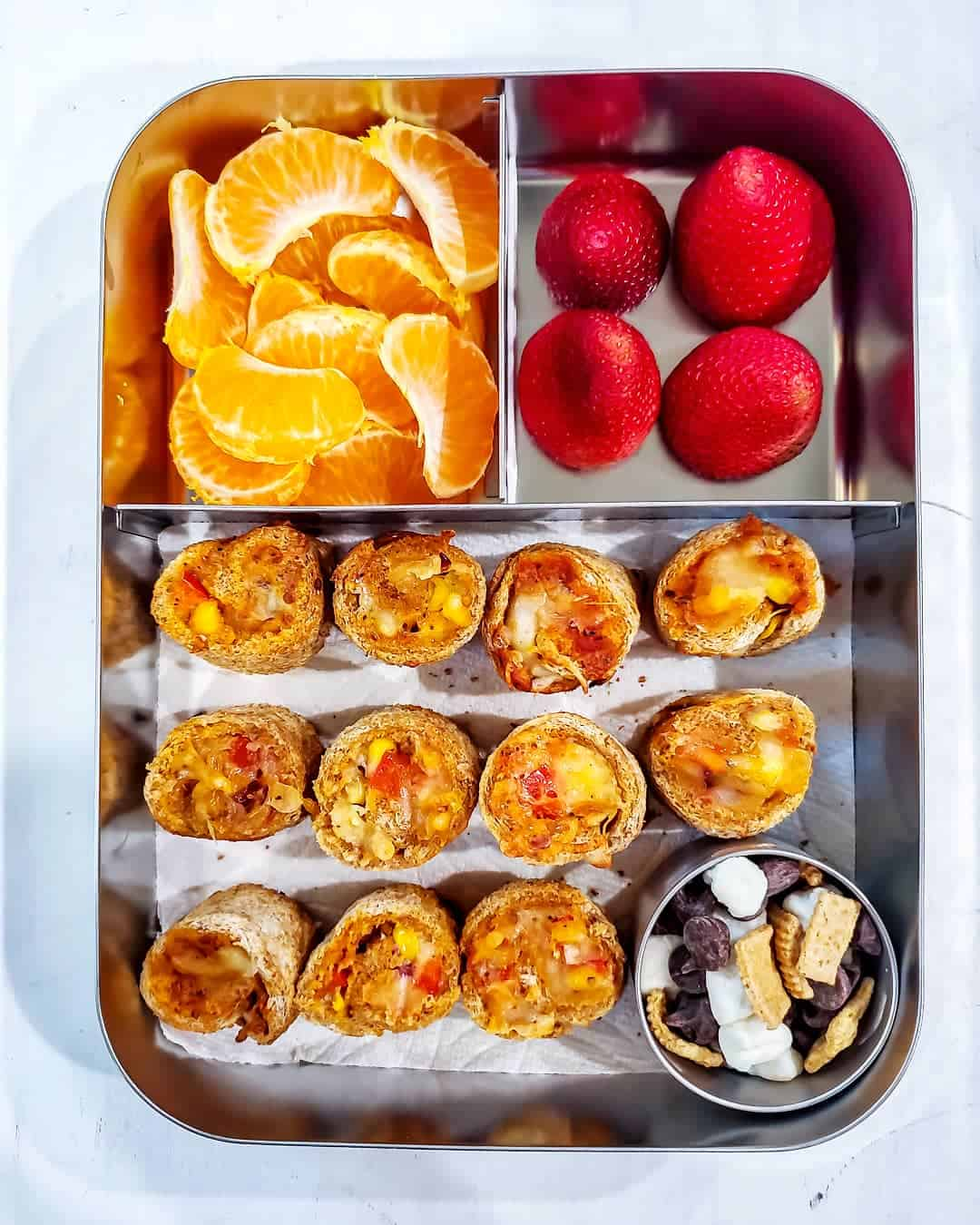 Bread Pizza Roll ups, Strawberries, oranges and smores mix