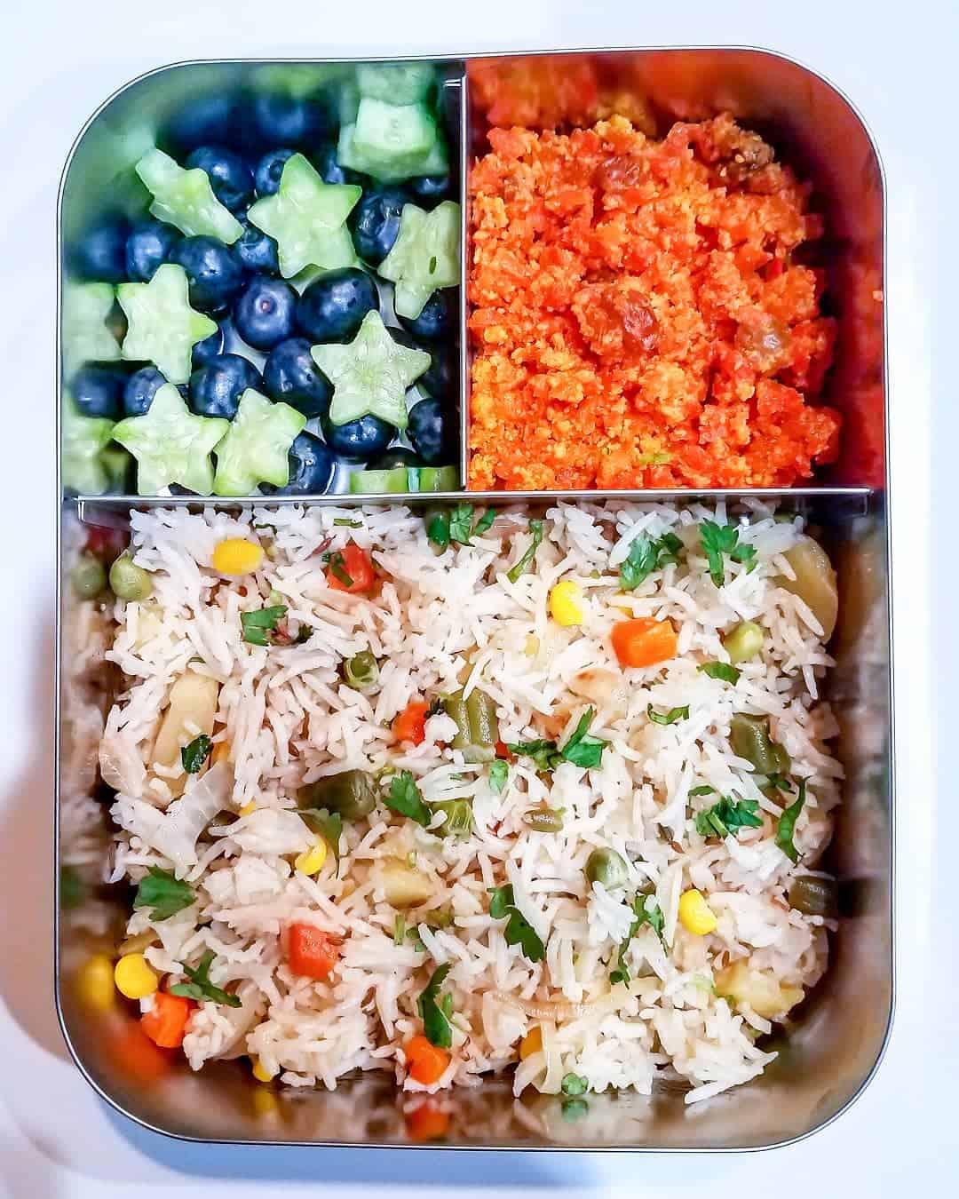 Mix veg pulao , Gajar ka halwa (carrot pudding), Blueberries and cucumber stars