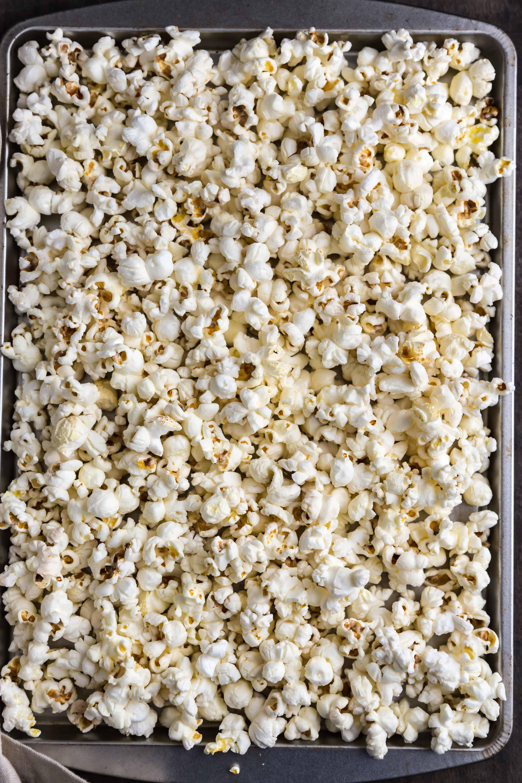 freshly made Popcorn on a baking tray