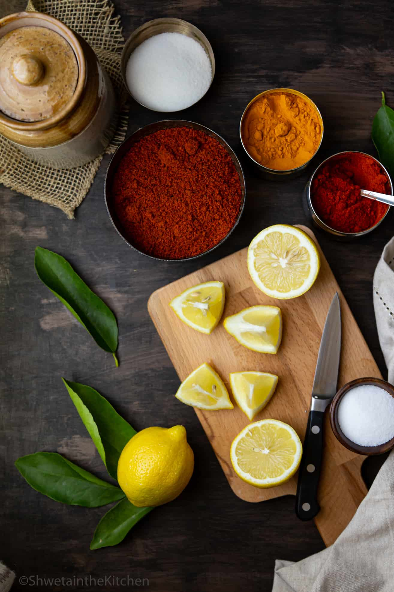 All the ingredients laid out for making Lemon Pickle