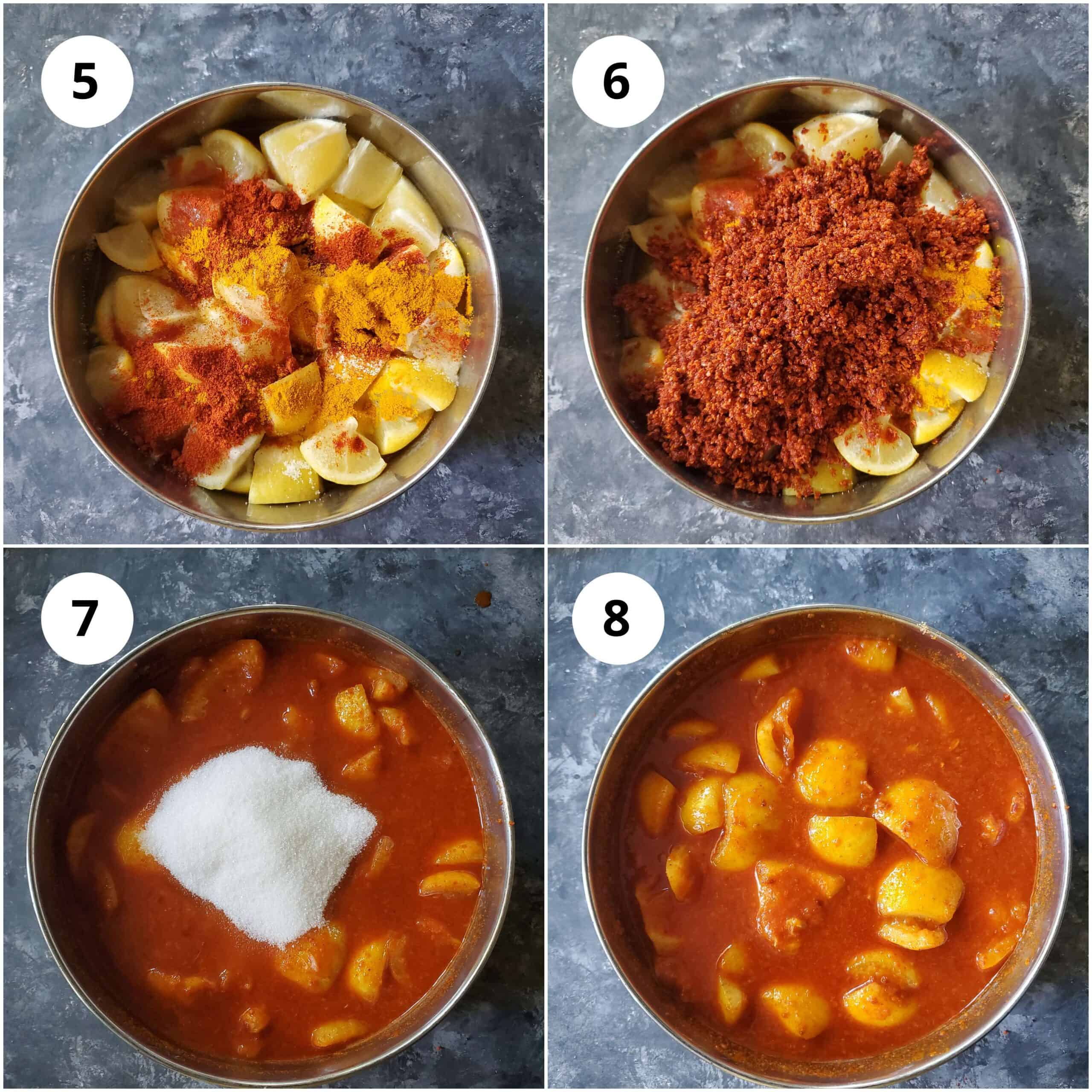 Step by Steps pics of adding spices and sugar to make Instant Lemon pickle