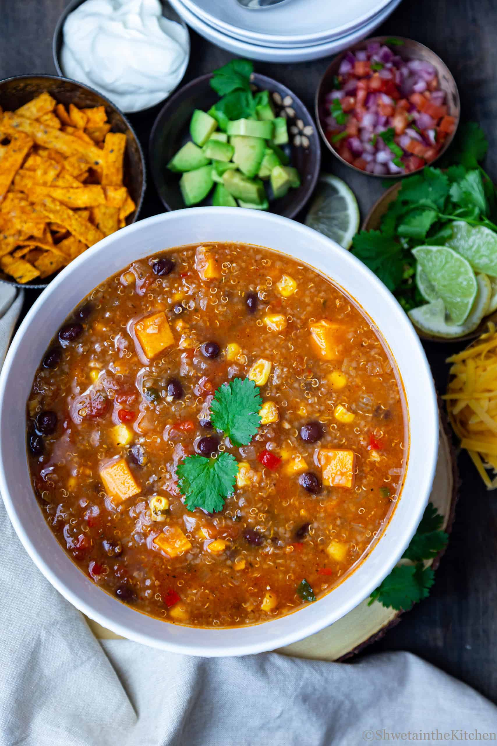 White bowl filled with vegetarian Enchiladas Soup