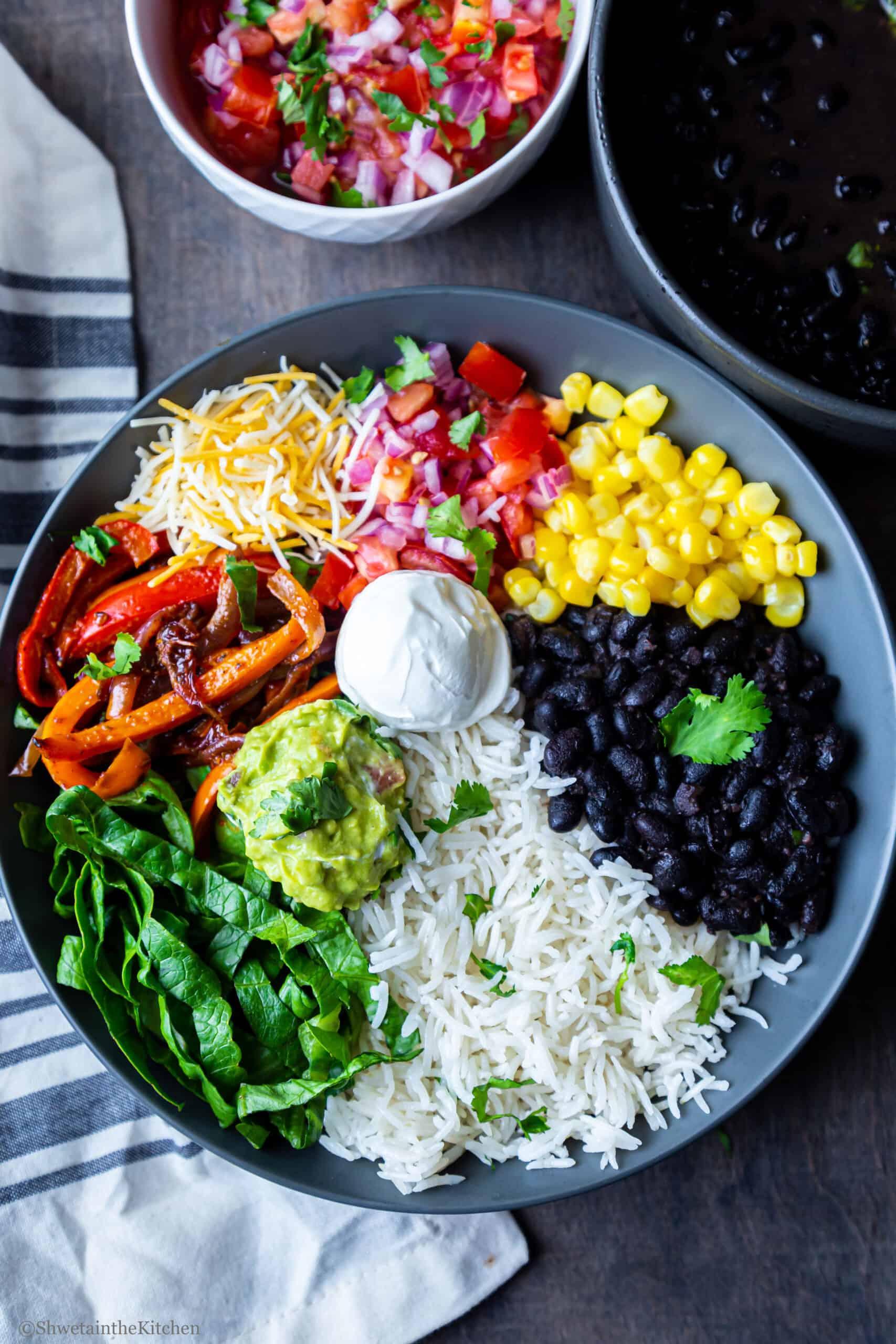 Easy Vegetarian Burrito Bowls Shweta In The Kitchen