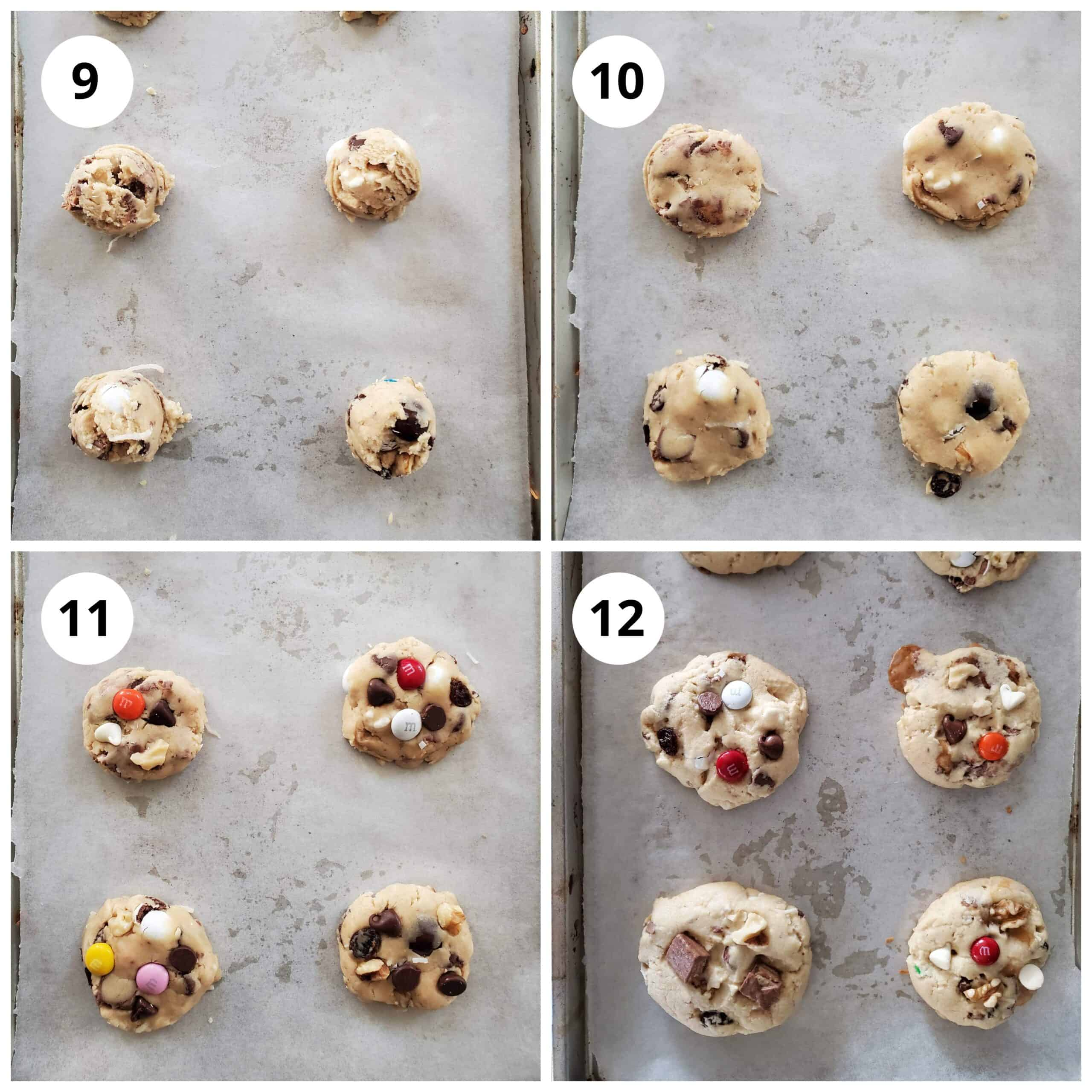 Make small balls of the cookie dough and flatten them. Add some more mixin and bake