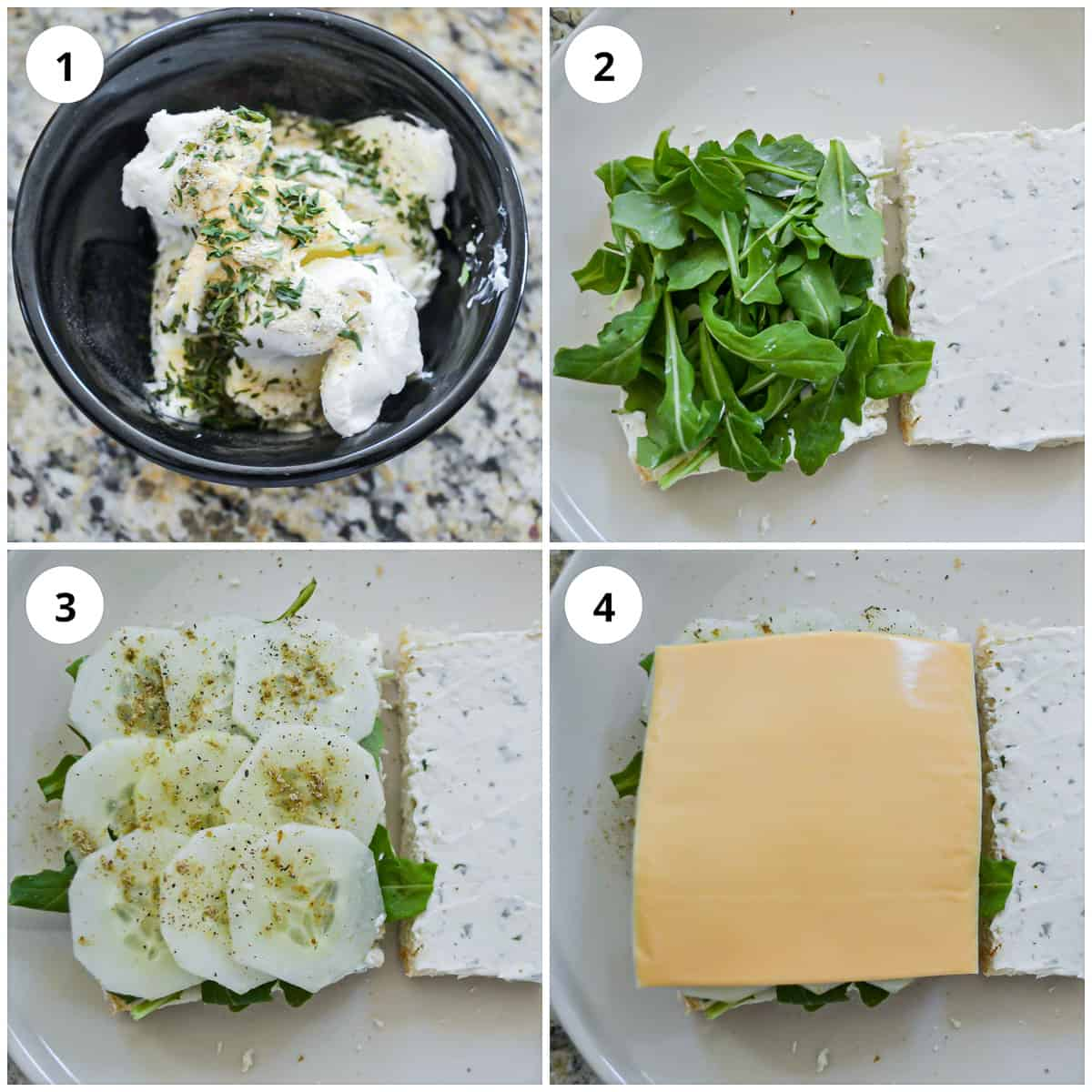 Four photos to show how to make the cucumber cream cheese sandwiches