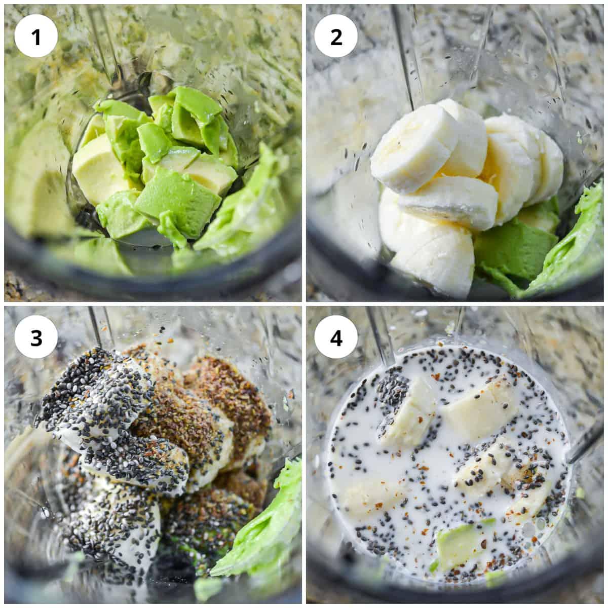 Four process shots to show how to make the avocado banana smoothie