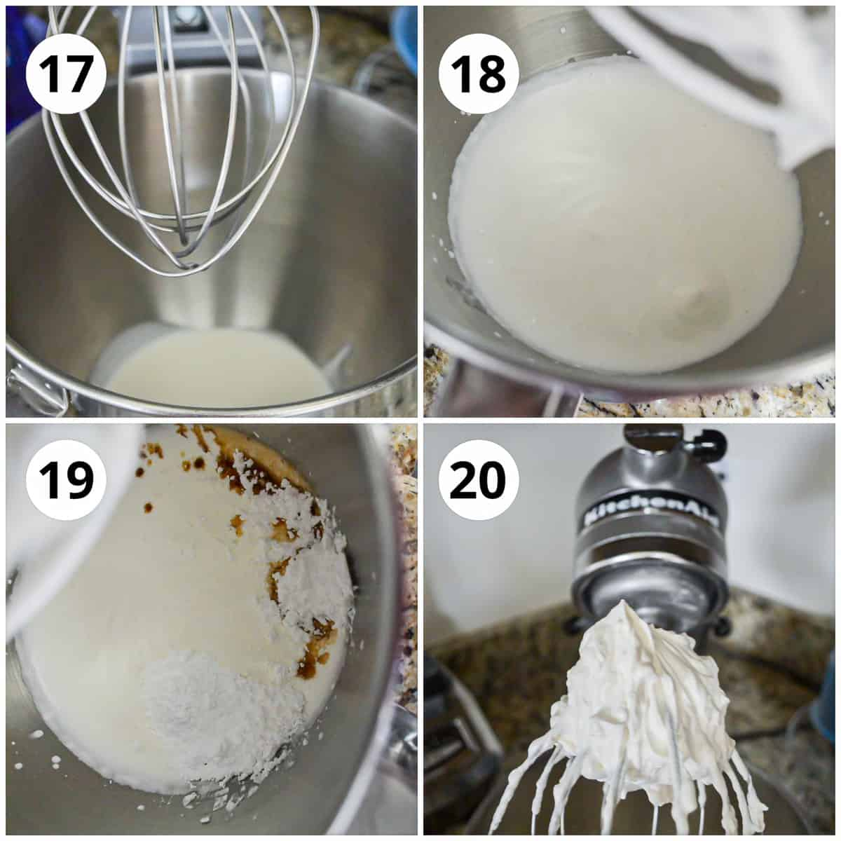 Four photos showing how to ake the whipped cream frosting