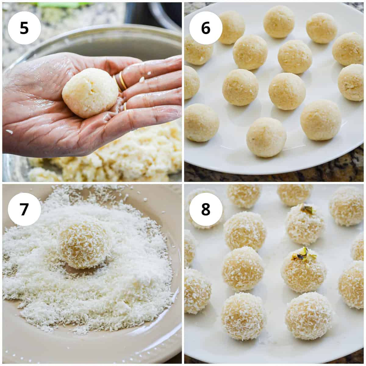 Process of making ladoo (balls) and rolling them into desiccated coconut