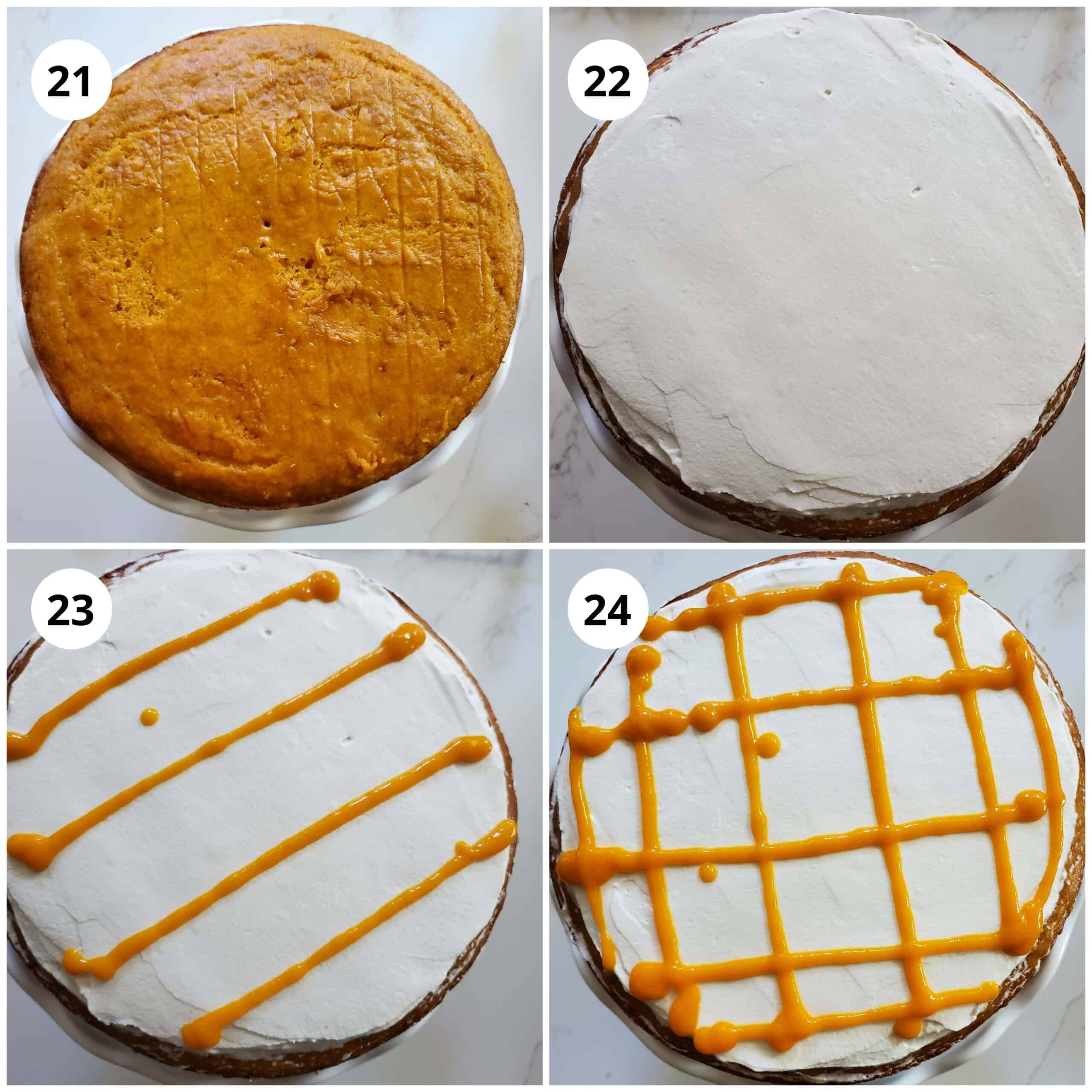 Step 2 for cake assembly is to add the top layer and add frosting and mango puree to decorate