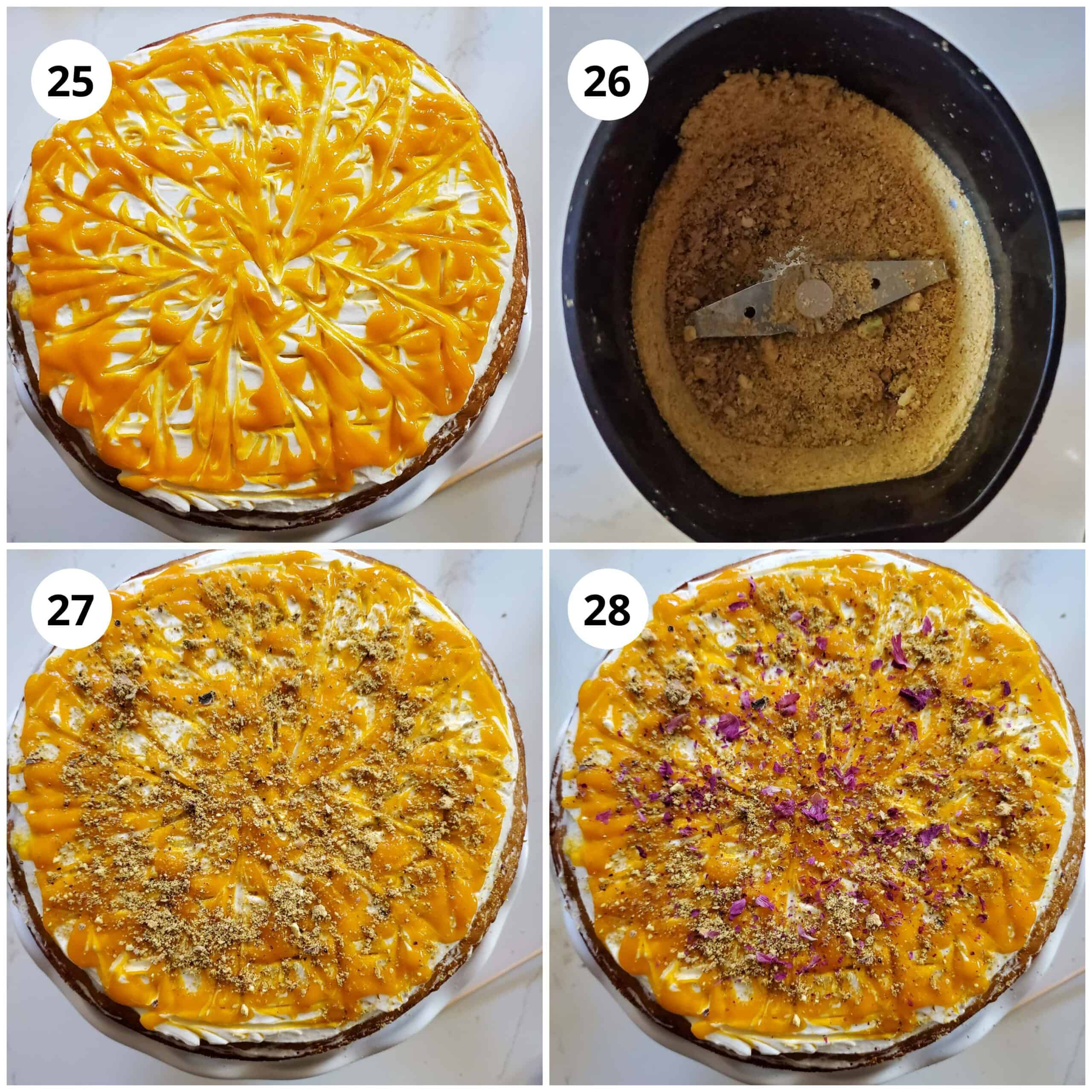 Decorate mango cake using puree, powdered pistachios and rose petals