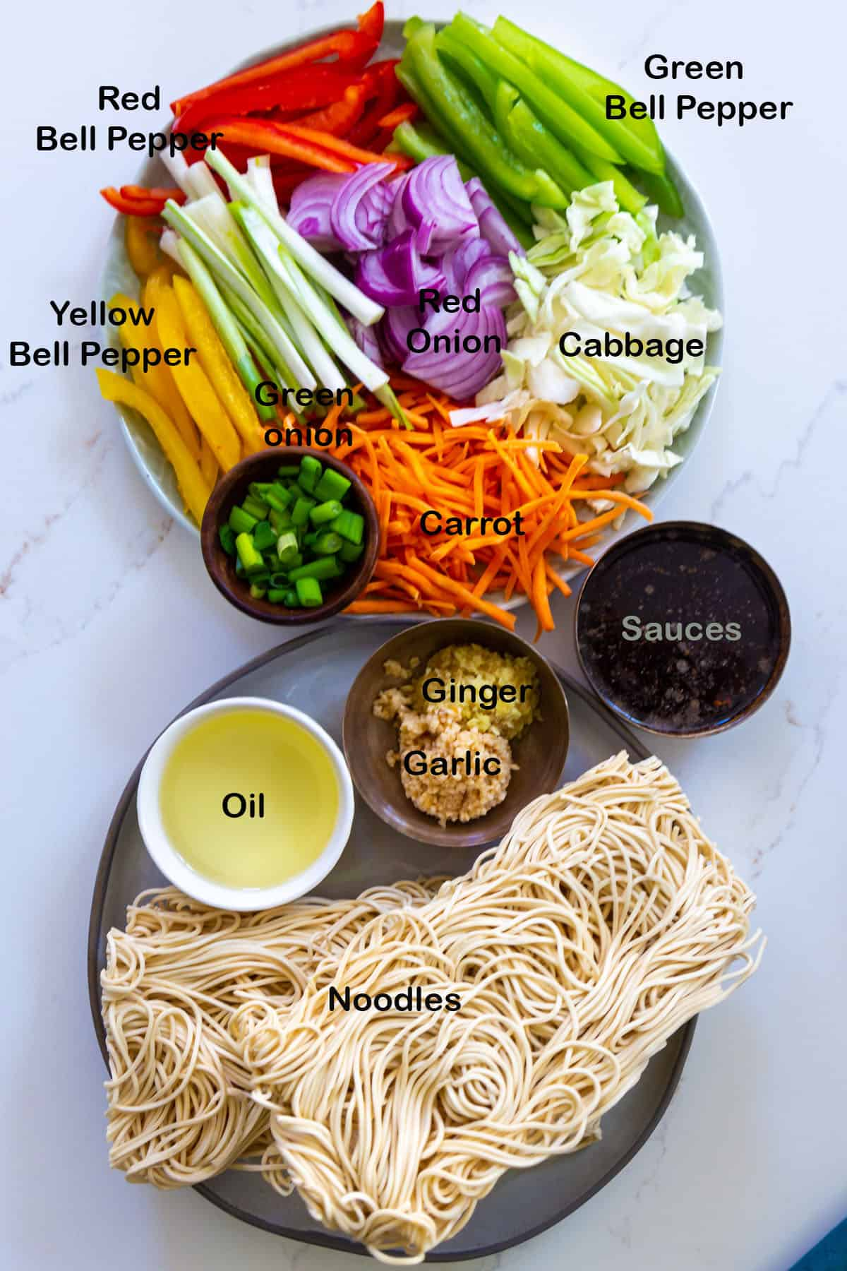 Top view of the ingredients for Veg hakka noodles