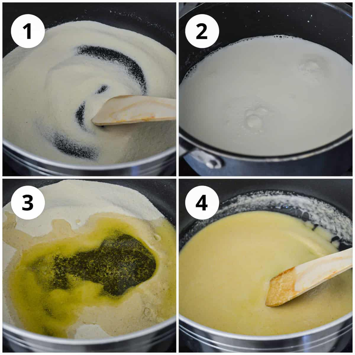 Four shots to show the cooking of the rava
