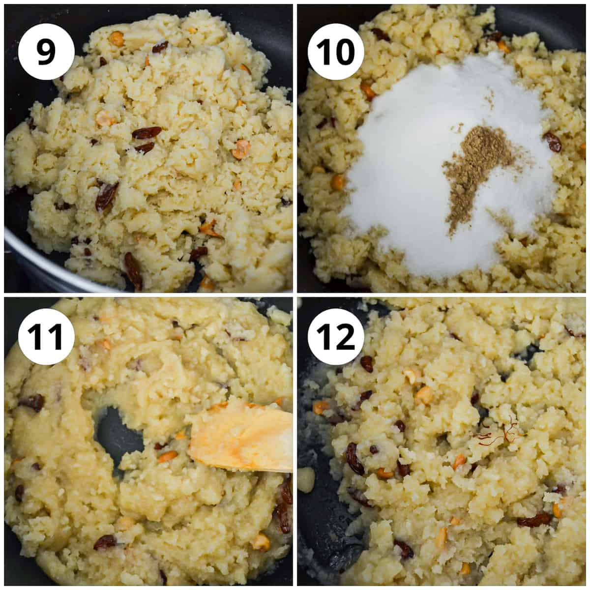 Adding the rava to the milk mixture and finishing the dish