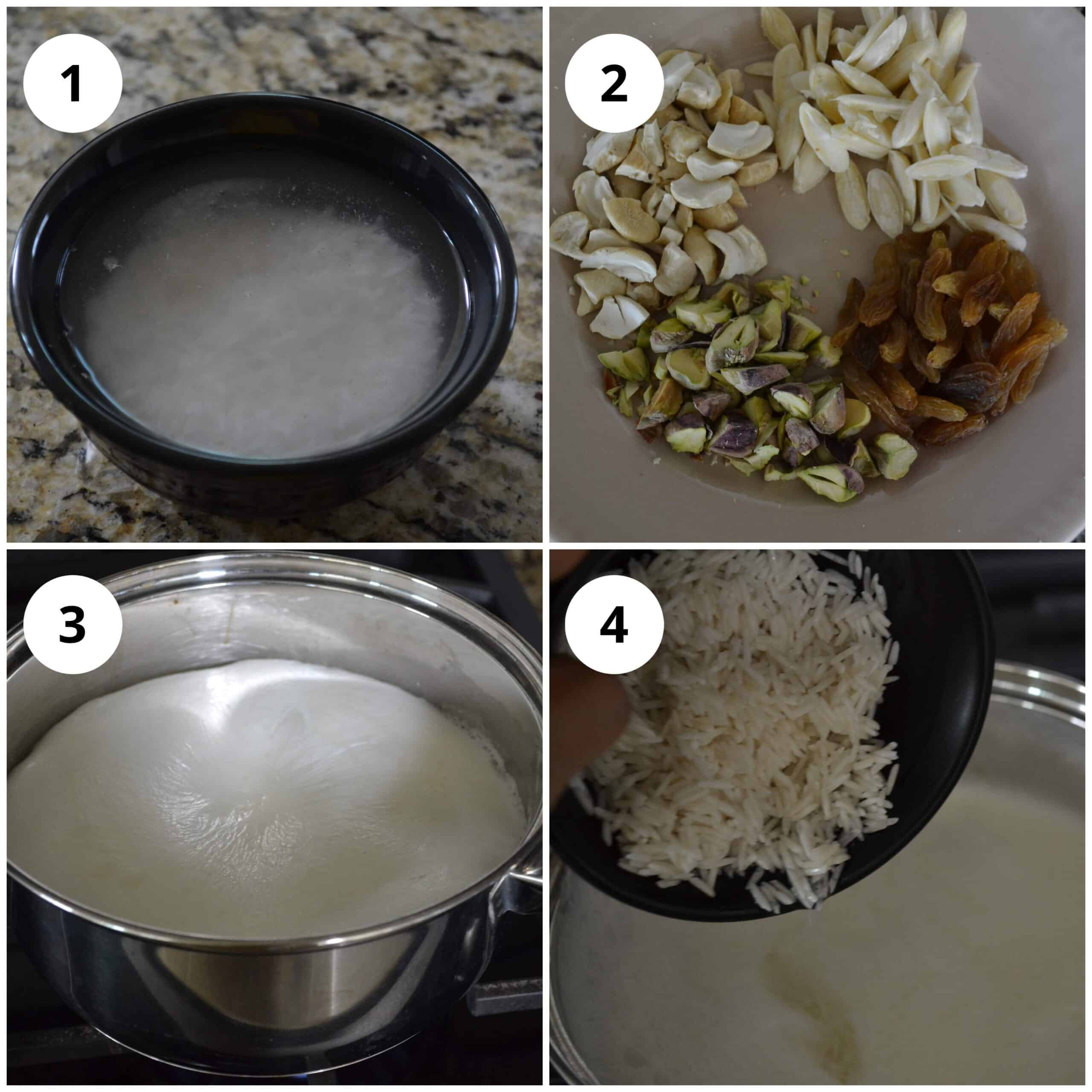 Photos showing soaking the rice, chopping the nuts an boiling the milk and adding rice