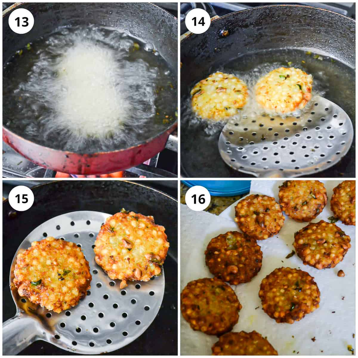 Frying the sabudana vada and draining them