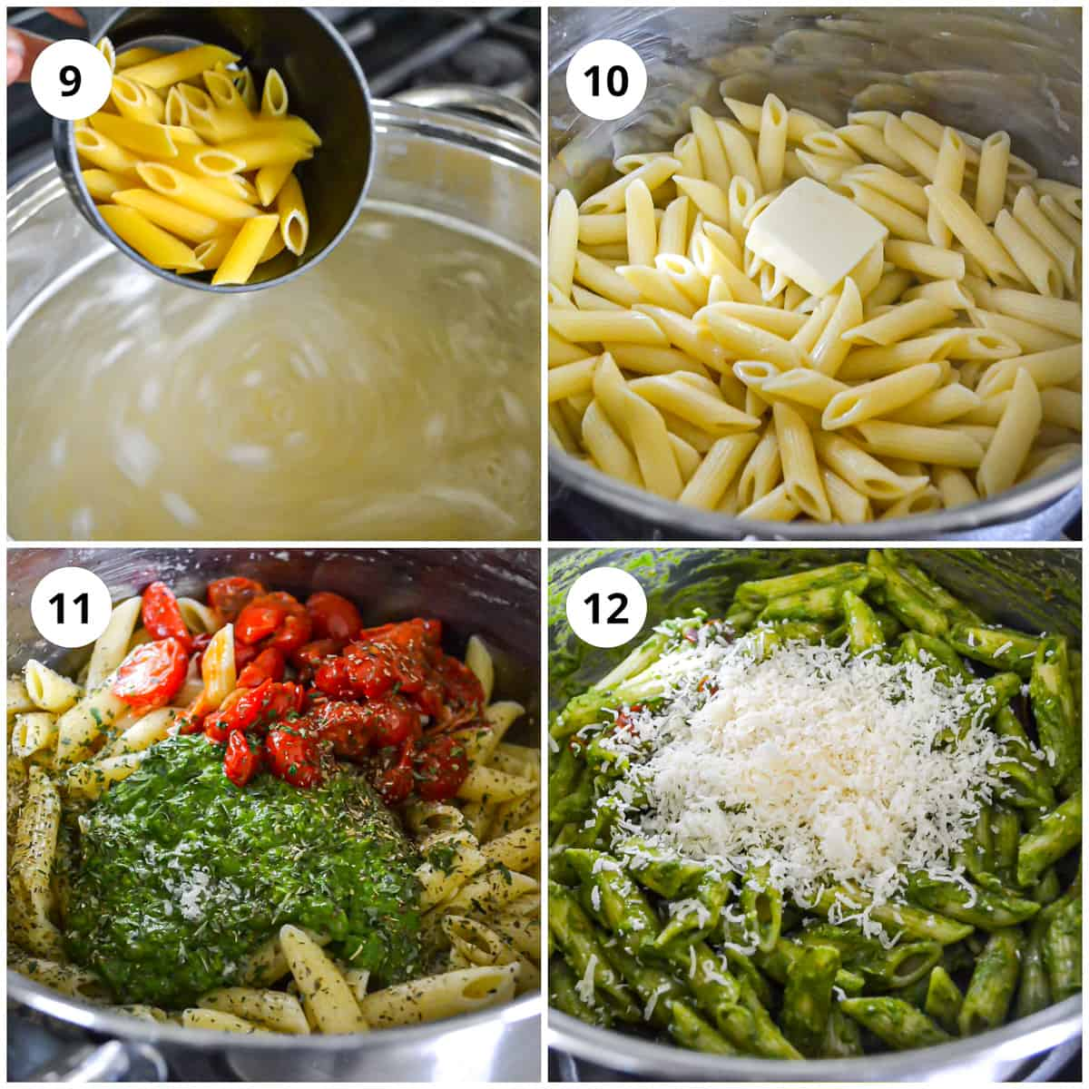 Photos showing how to make the spinach basil pesto pasta