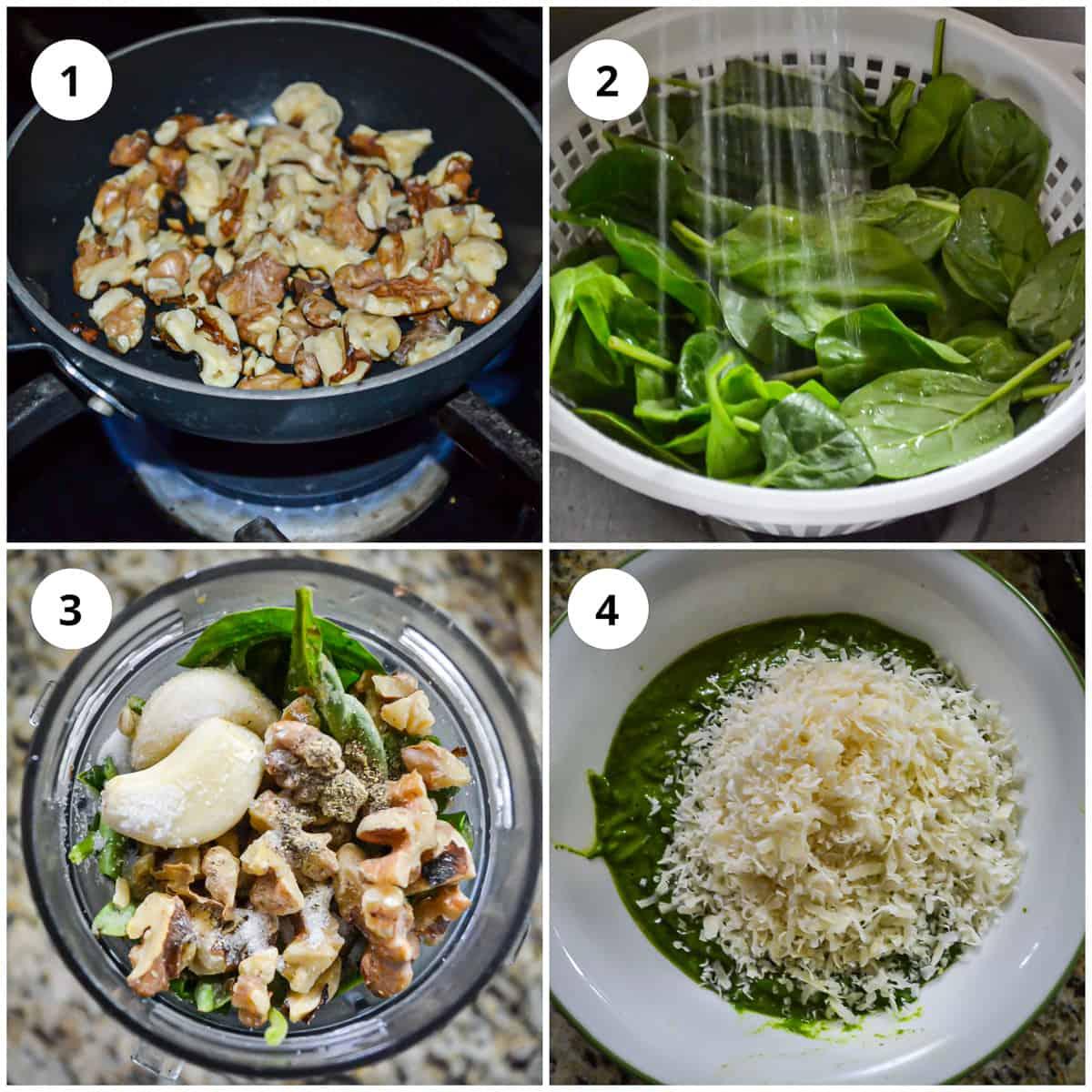 Four hotos to show how to make the pesto