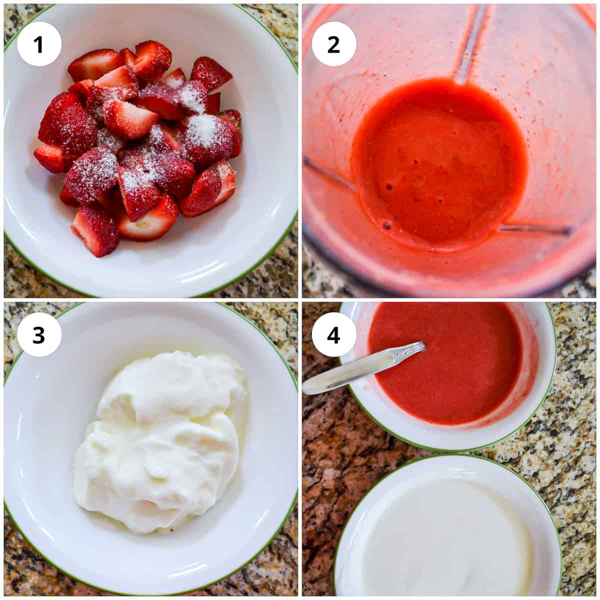 Preparing the strawberries for the popsicles