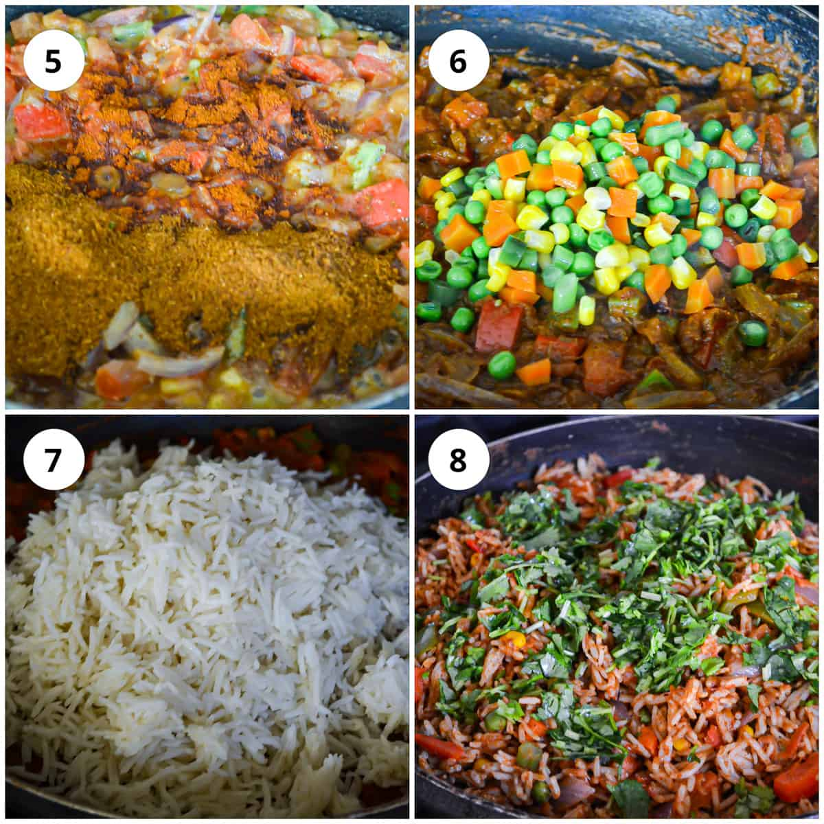 Addin the vegetables and the rice to the pan