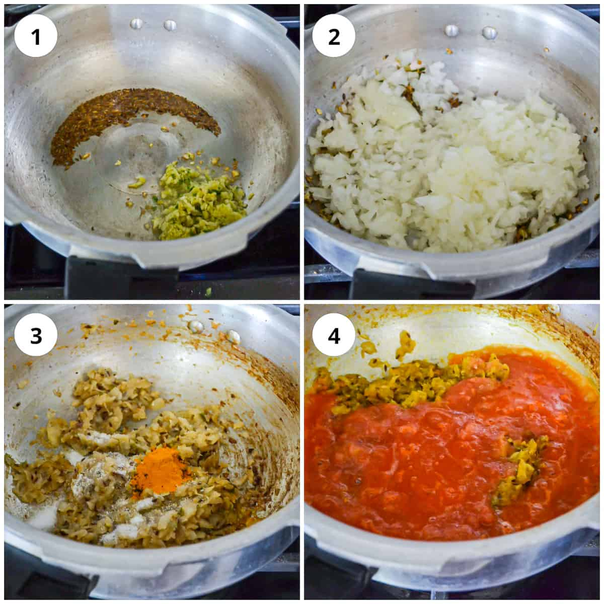 Step by step photos to show how to make the base for the tinda curry