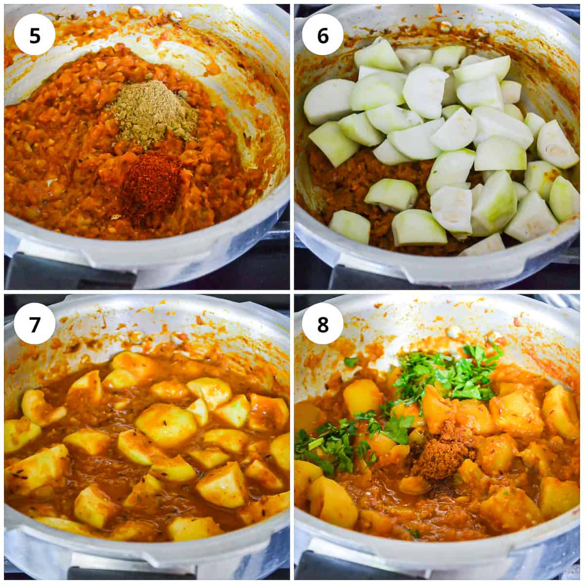 Four photos to show how to cook the curry ready to serve