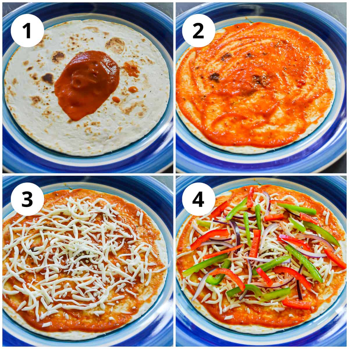 Four shots showing adding the sauce to the tortilla and topping with vegetables and cheese