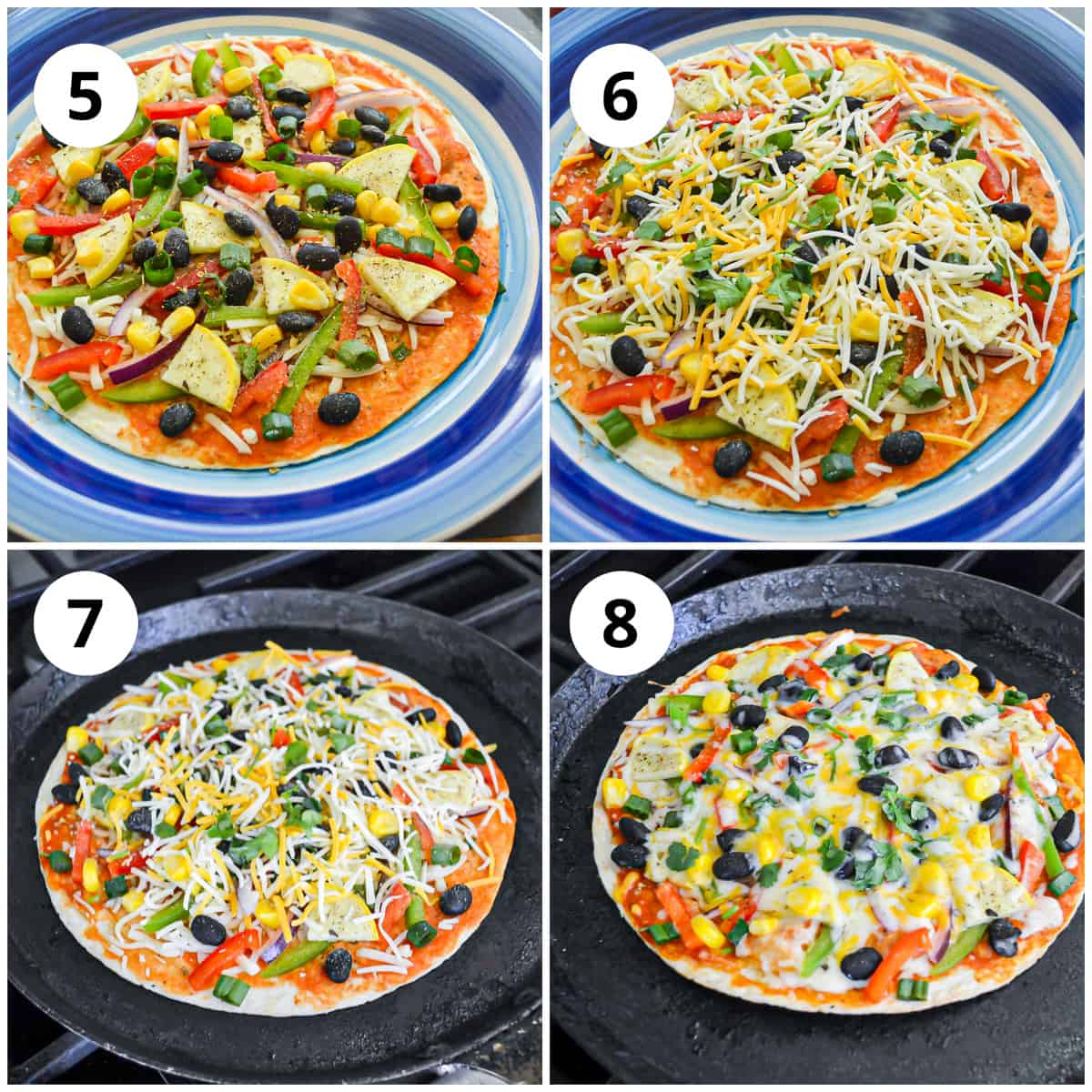 Shots showing how to top the pizza and cook it